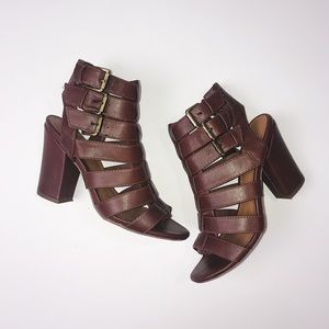 Brown Chunky Buckle Heels Forever21